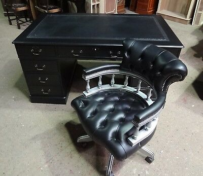 "STUNNINGLY RESTORED ""BRAND NEW"" PAINTED BLACK 5x3 DESK & SILVER CAPTAIN'S CHAIR"