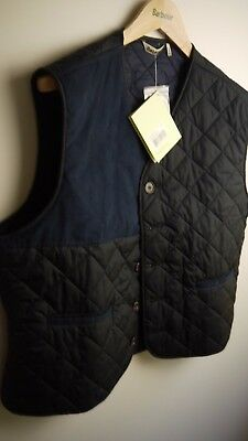 45b42dc170219 Barbour Men's Tailored Waistcoat / Vest, New With Tags, Navy Blue, Size XL