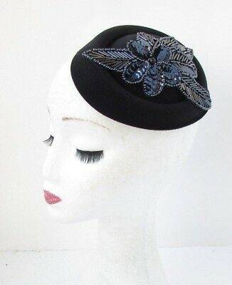 Black Navy Blue Sequin Bead Pillbox Hat Hair Fascinator Races Cocktail Vtg 4792