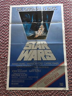 Vintage Star Wars 1982 Movie Poster Re release REVENGE of the JEDI R80106