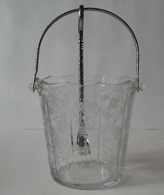 Cambridge Rose Point Handled Ice Bucket With Tongs