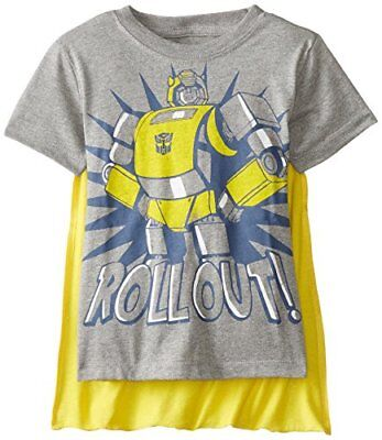 Transformers Little Boys' Toddler Bumblebee Roll Out Cape T-Shirt Grey 4T