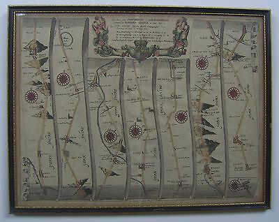 Yorkshire: Ferrybridge-Richmond-Wakefield road map by John Ogilby, c1675