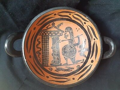 Ancient Thracian Kylix Blac figure- Vase-400 BC -Pottery