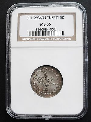 AH 1293//11 Turkey 5 K,  NGC MS 65, nice silver coin , top graded