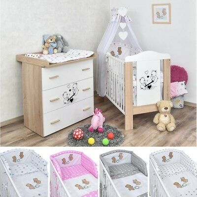 babyzimmer babybett teddy wickelkommode blau bettw sche. Black Bedroom Furniture Sets. Home Design Ideas