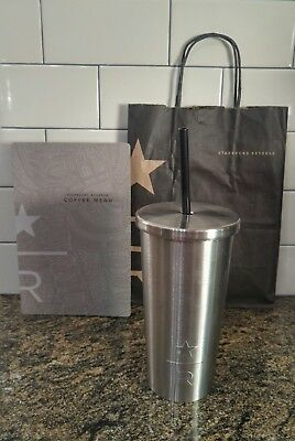 "Starbucks Stainless Steel ""Reserve"" Cold Cup Straw Bright Black 16 Oz Bundle"