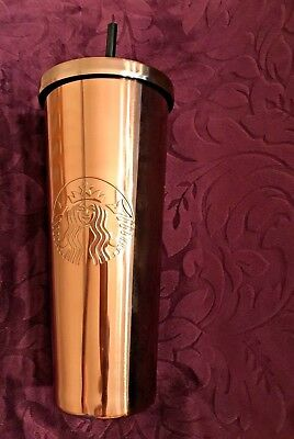 Starbucks 2017 ROSE GOLD Stainless Steel Cold Cup Tumbler 24oz Venti FREE SHIP