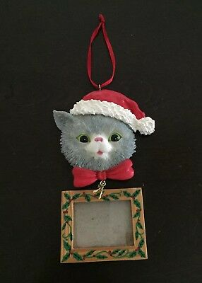 Cat Ornament Photo Holder Hanging Gray Tabby Kitty Christmas Ornament