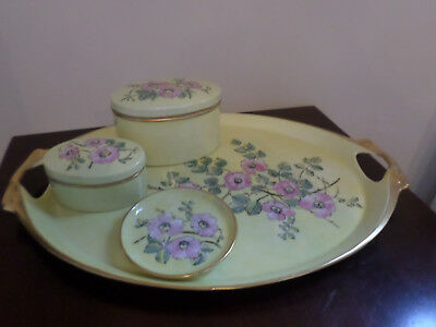 Hand painted 1920's yellow Dressing Table Tray, 2 Trinket boxes and ring tray