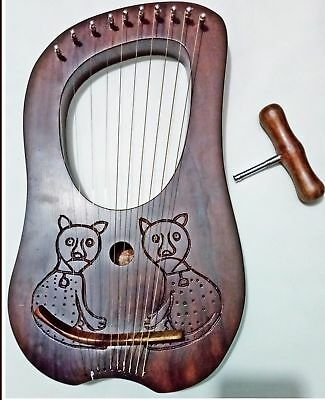 New Design Lyre harp 10 Metal Strings Rosewood With Black Bag and Tuning Key