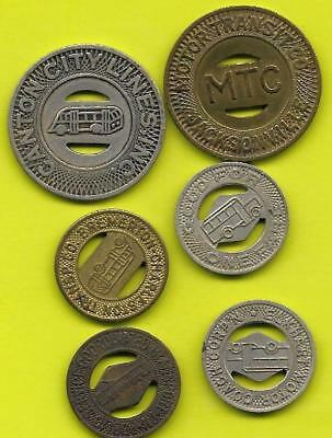 Six Different Pictorial Transit Tokens