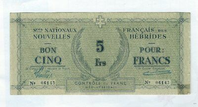 NEW HEBRIDES  - Five (5) Francs, 1943