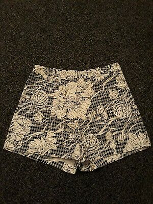 lovely black, grey and white floral shorts size 12