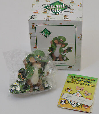 LUCKY TO BE YOUR FRIEND St Patricks Day Mouse Charming Tails Figurine Fitz Floyd