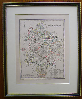 Warwickshire: antique map by H Creighton, c1840