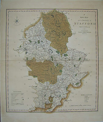 Staffordshire: antique map by Charles Smith, 1801