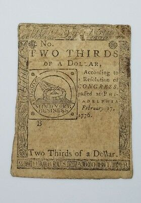 1776 2/3 DOLLAR Continental Currency Colonial Note PENNSYLVANIA FEB 17 1776