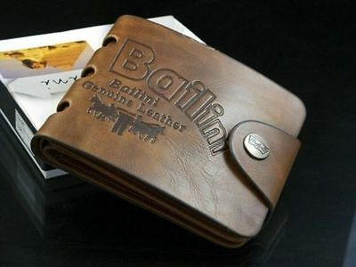 Mens Genuine Leather Wallet High Quality Cowhide Brown Gift Card Holder Brand Ne