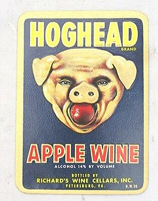 Vintage Hoghead Apple Wine Label --- New Old Stock