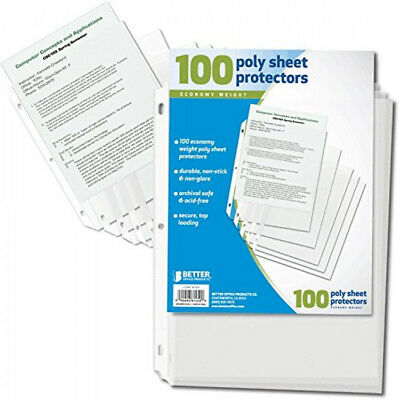 Clear Plastic Sheet Page Protectors Document Binder Photo Accessories Sleeves