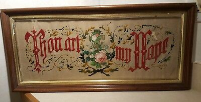 Antique Victorian Motto THOU ART MY HOPE Punch Paper Needlepoint Sampler Roses