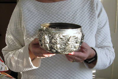 RARE 1890s Madras swami dancers Shiva Parvarti Indian colonial silver rose bowl