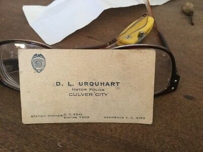 GUN SALE 1928 Culver City MOTOR POLICE On Back of Business Card 44 S W Special