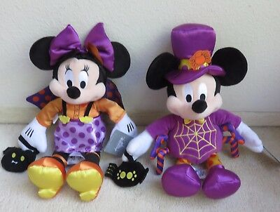 """Disney Halloween Mickey and Minnie Mouse Plush 15""""  New With Tags 2017"""