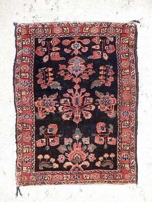 Antique 1920 Persian Blue SAROUK Small Rug. Very Good Pile Condition. Silky Wool
