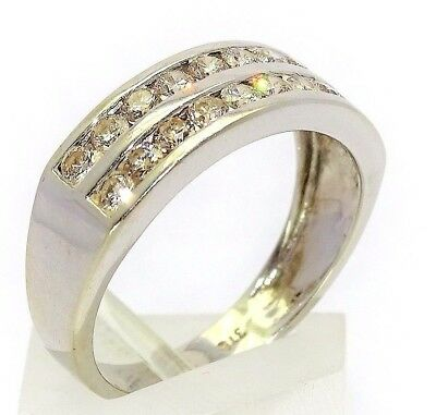 20! sparkling Diamonds Set in a 9ct White Gold Gold Band suit Men or Women