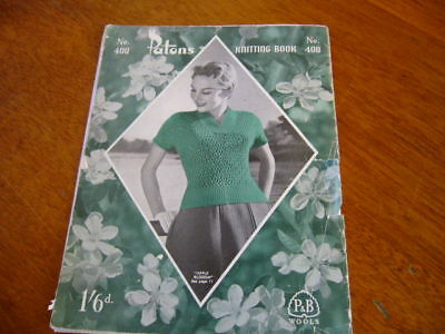 OLD VINTAGE PATONS KNITTING PATTERN BOOK No 400 LADIES CARDIGANS JUMPER TOPS