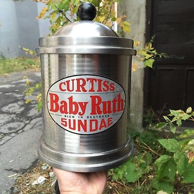 """VINTAGE c.1940 STAINLESS """"CURTISS BABY RUTH"""" HOT FUDGE SODA FOUNTAIN DISPENSER"""