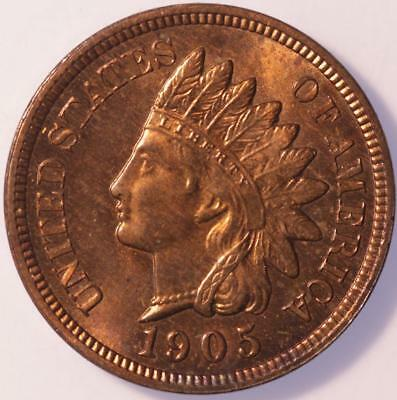 1905 Indian Cent, Choice Brilliant Uncirculated, Lustrous, Tons Of Red, Classic!