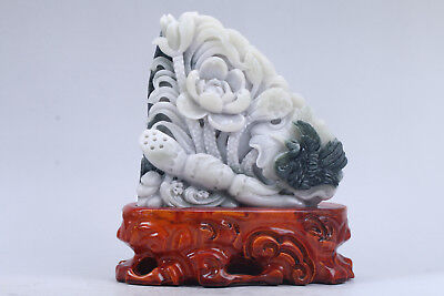 Exquisite 100% Natural dushan Jade Hand Carved Lotus and lotus root statue y111