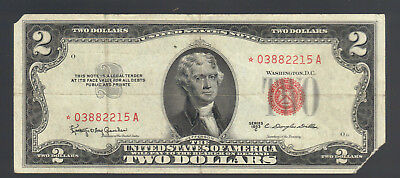 $2 1953C STAR USA RED SEAL OLD Legal Tender United States Note Replacement Bill