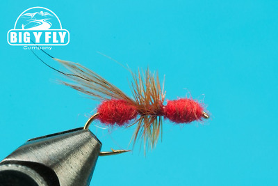 One Dozen Premium Big Y Fly Company Fishing Flies - Dries Flying Ant Red #14