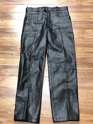 Mens Vtg Unik Motorcycle Biker Rocker Lined Leather Pants 36 x 32