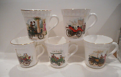 Set Of 5 Crown Staffordshire Antique Cars Coffee Mugs Made In England