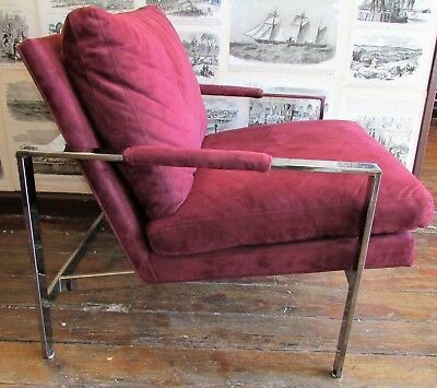 100% Authentic Milo Baughman Lounge Chair Original Suede With Tag. Beautiful