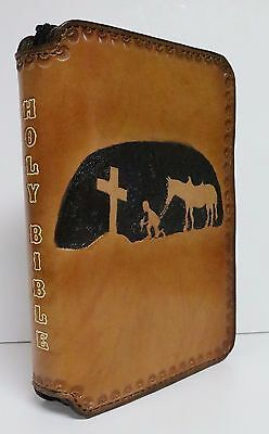 Bible Cover Zippered Medium Case Hand Tooled Made Leather Cowboy At The Cross