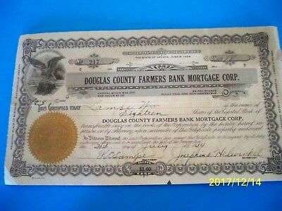 Old 1934 DOUGLAS COUNTY FARMERS BANK MORTGAGE CORP Stock Certificate NEVADA