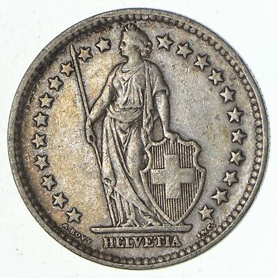 SILVER - 1944 Switzerland 2 Francs - World Silver Coin 10.1 Grams *071