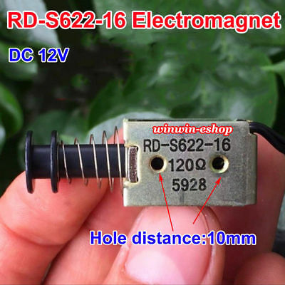 DC 12V DC Electromagnet Valve Push Pull Suction Type Spring Rod Solenoid Magnet