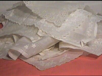 Antique Lace Fine Embroidered Handkerchief Lot Of 10 Not Washed Or Pressed