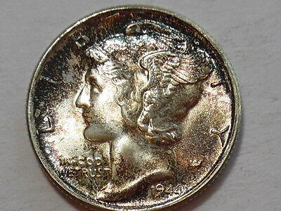 1944-P Mercury Silver Dime - Mint State, MS - Nicely toned