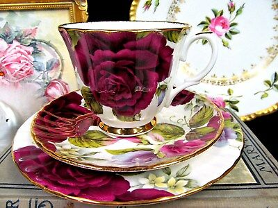 Duchess Tea Cup And Saucer Trio Chintz Roses & Sweet Pea  Flowers Teacup Set