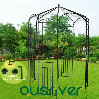 Garden Metal Arch Gazebo Outdoor Gate Shade Arbour Home Yard Entry Wedding Decor