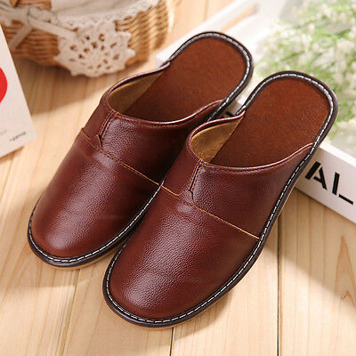 Mens Shoes Genuine Leather Closed Toe ComfortableIndoor HouseSlippers Man 8808 H