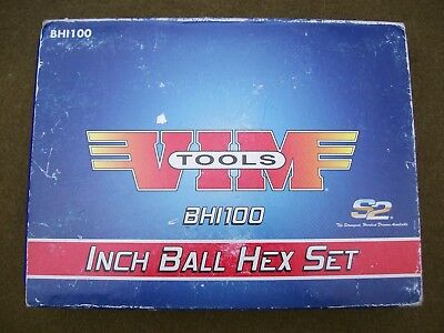 New VIM Tools BHI100 10 PIece Extra Long SAE Ball Hex Ratcheting T-Handle Set